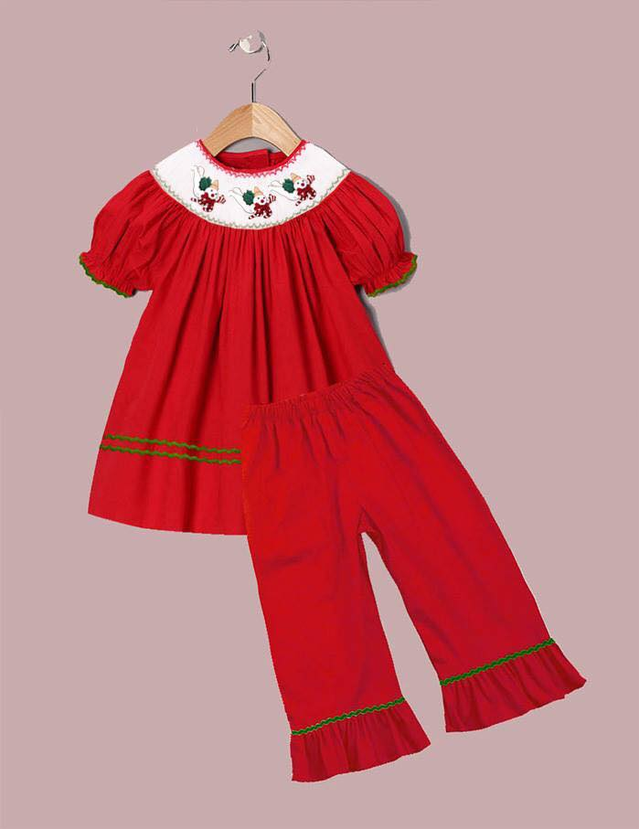 Red Mr. Bingle Inspired Girls Pants Set