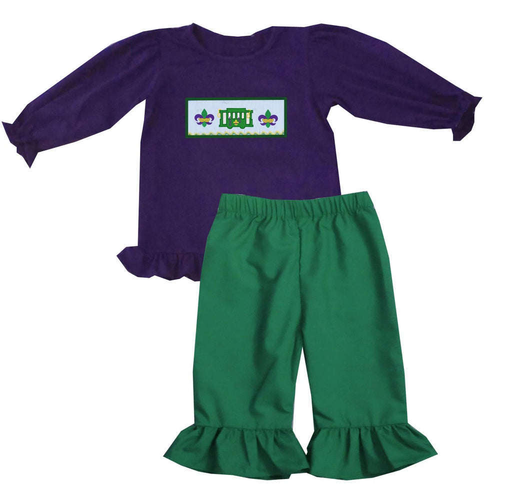 Mardi Gras Streetcar Girls Pants Set