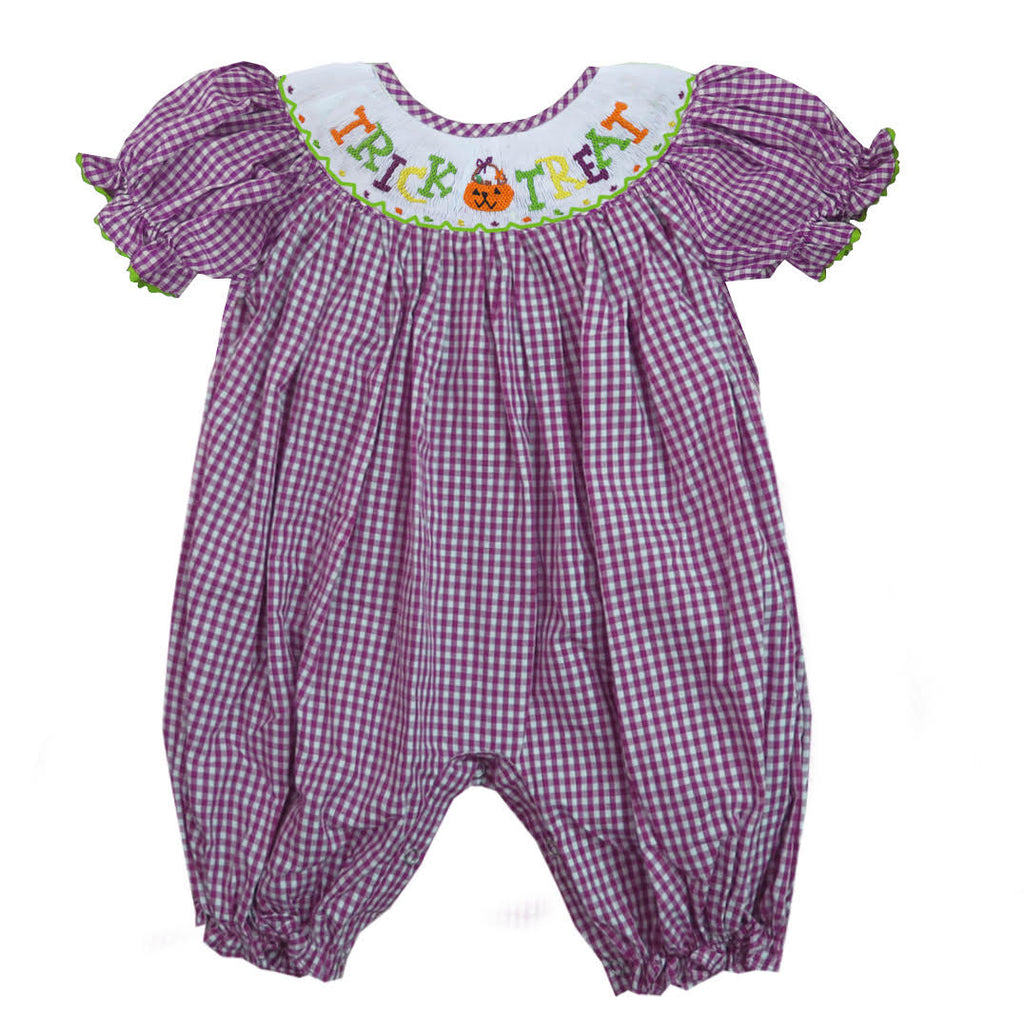 2019 Purple Gingham Trick or Treat Romper