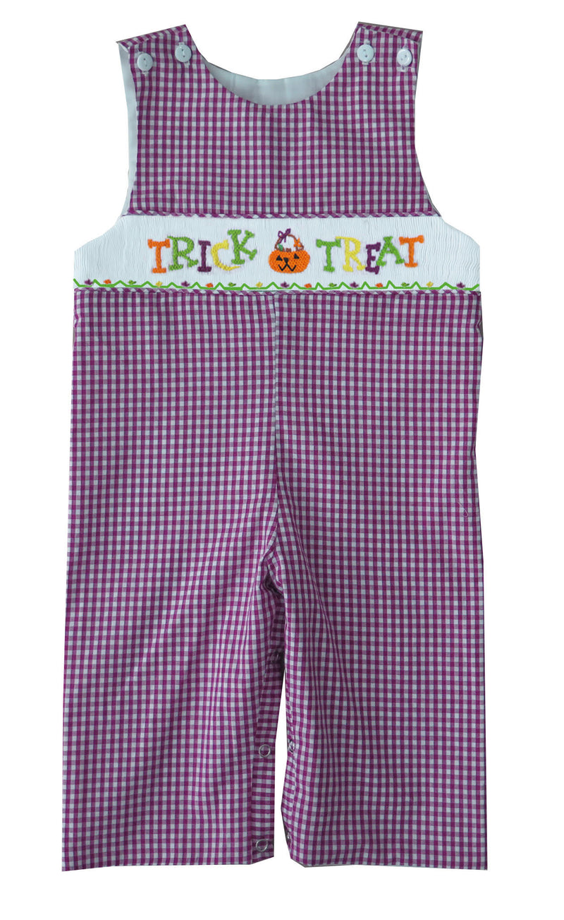 2019 Purple Gingham Trick or Treat Boys Longall