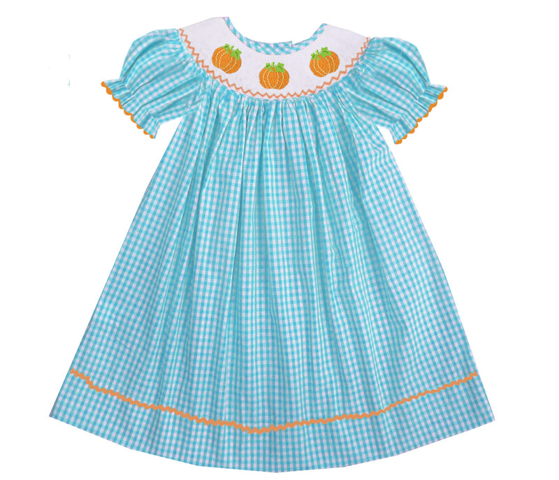 2019 Aqua Gingham Pumpkin Bishop Dress