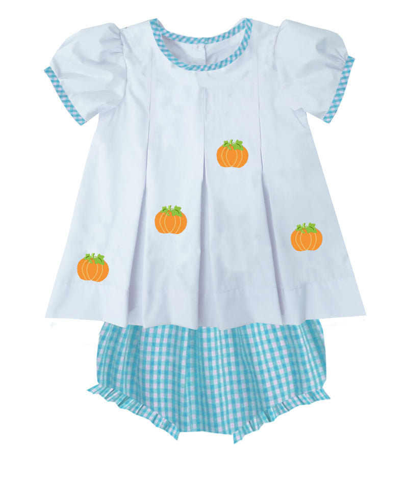2019 Aqua Gingham Pumpkin Bloomer Set