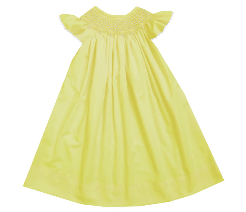Yellow Solid Pearl Bishop Dress