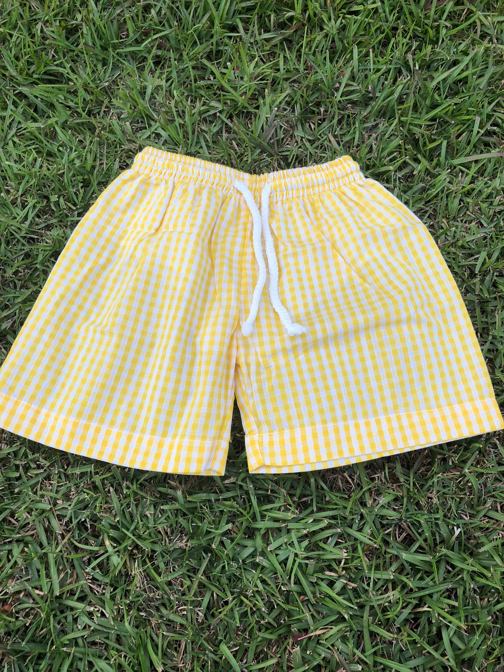 Yellow Gingham Trunk Swim Suit