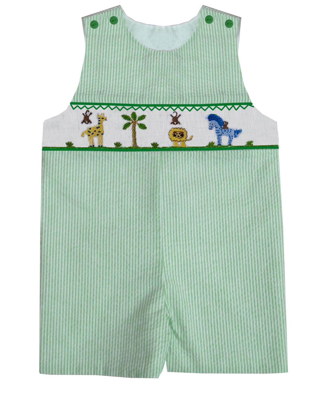 Green Gingham Zoo Animals JonJon