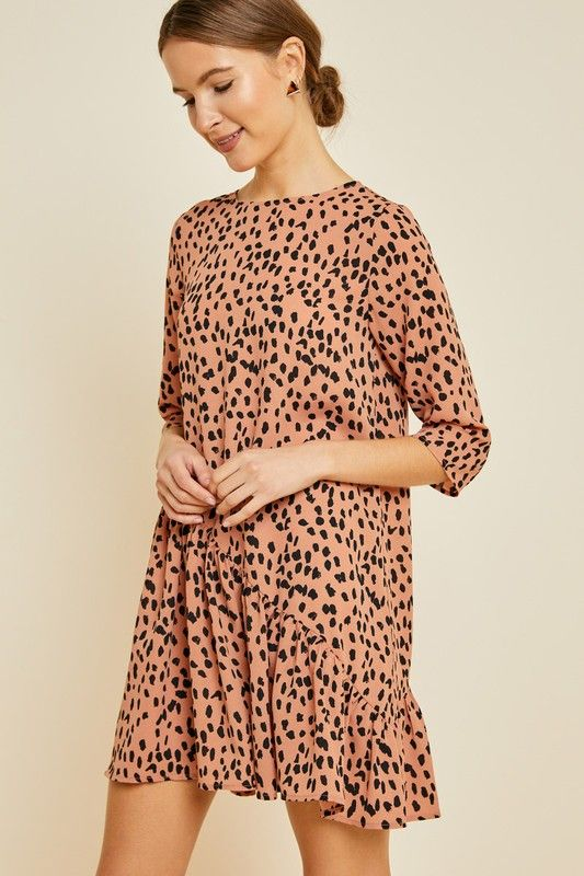 Asymmetrical Dotted Swing Dress