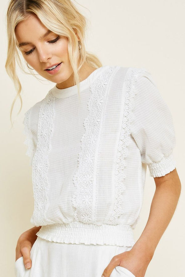 Lace Puff-Sleeve Crop Top