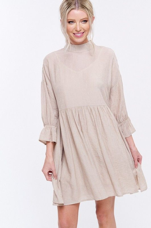 Textured Mandarin Collar Dress