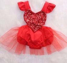 Load image into Gallery viewer, Heart Tulle Romper