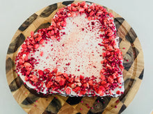 Load image into Gallery viewer, Giant heart valentines cake with freeze dried fruit decoration
