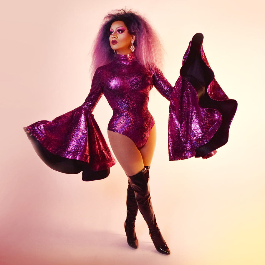 Drag Queen Costume Purple Leotard