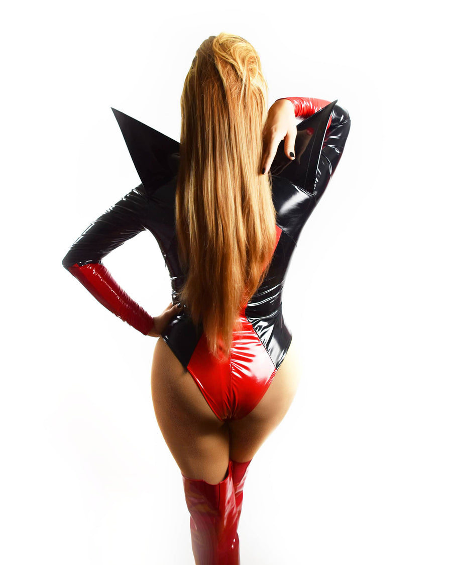 Black Widow | Drag Queen Leotard - Red Vinyl