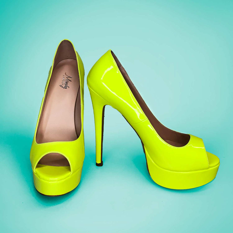 Heels for Men | Neon-Yellow Sexy Platforms