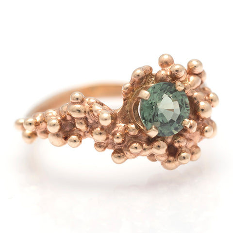 Green Sapphire Wave Ring