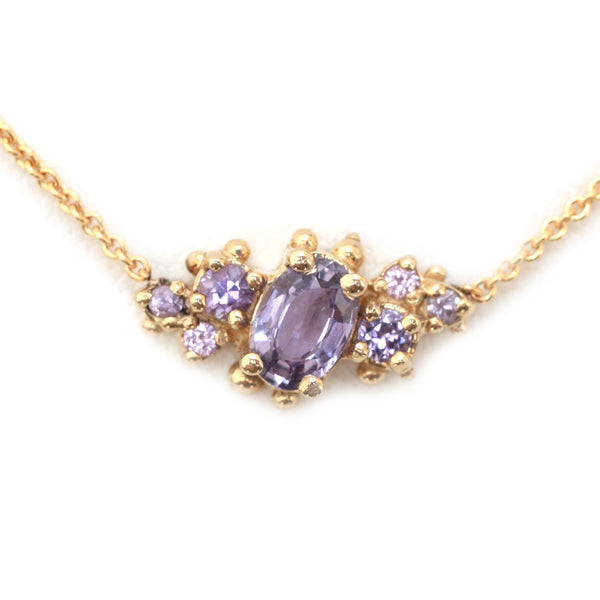 Lavender Sapphire Cluster Necklace