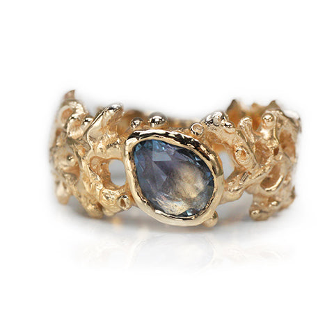 Blue Sapphire Coral Ring