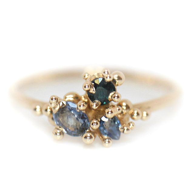 Tri-Sapphire Cluster Ring