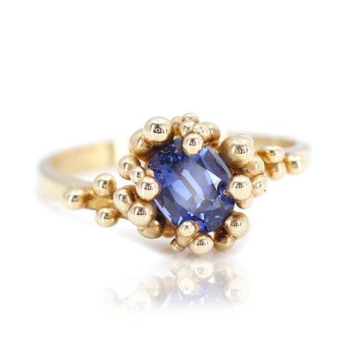 Yellow Gold Lab Blue Sapphire Baleal Ring