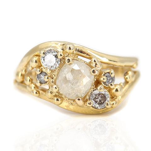 Rustic Diamond Wave Ring