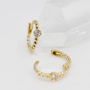 Diamond and Gold Mini Hoops