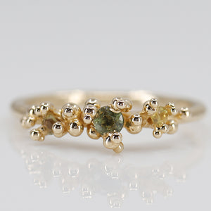 Green and Yellow Sapphire Areia Ring