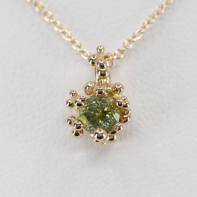 Green Montana Sapphire Solitaire Pendant