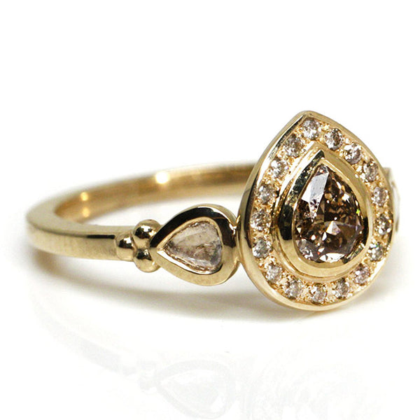 Champagne Pear Diamond Halo Ring
