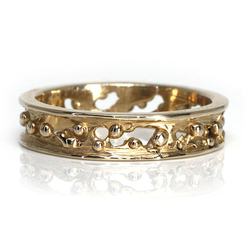 Gold Coral Wedding Band