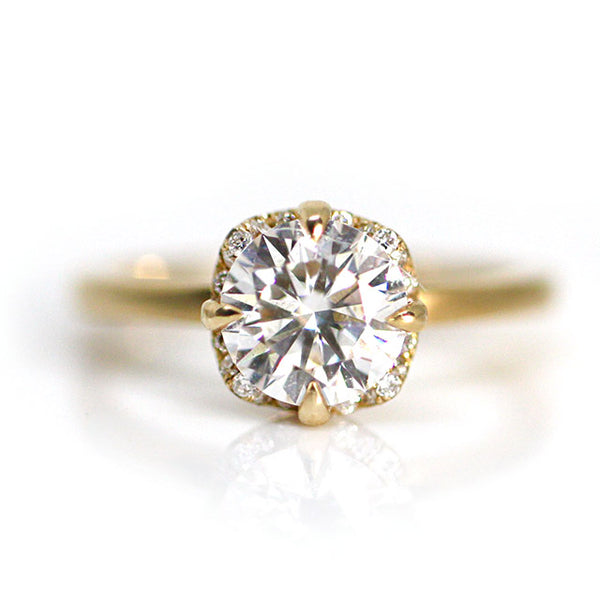 Moissanite and Diamond Halo Ring