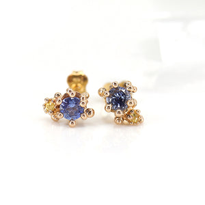 Blue and Yellow Sapphire Baleal Studs