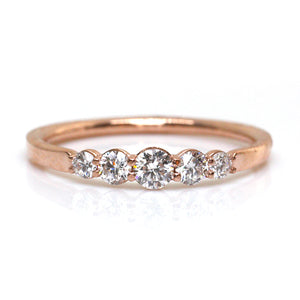 Rose Gold Graduating Diamond Ring