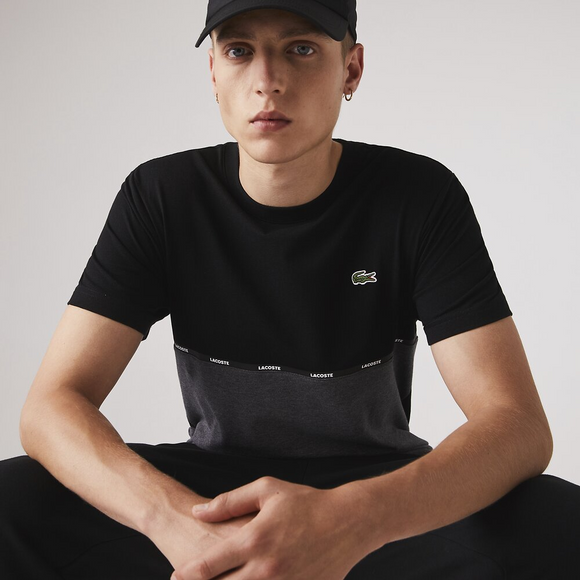 LACOSTE LOGO TAPING LIGHT KNIT T-SHIRT BLACK/PIT TH6257UBY