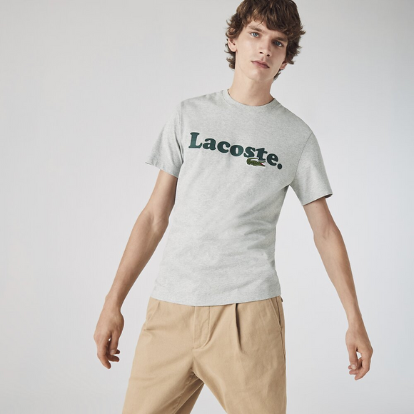 LACOSTE WORDING JERSEY T-SHIRT SILVER TH1868CCA