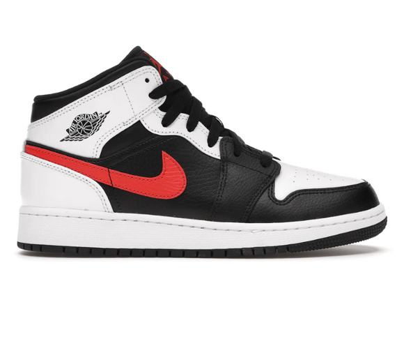 Air Jordan 1 Mid GS (White/Black/Chile Red)