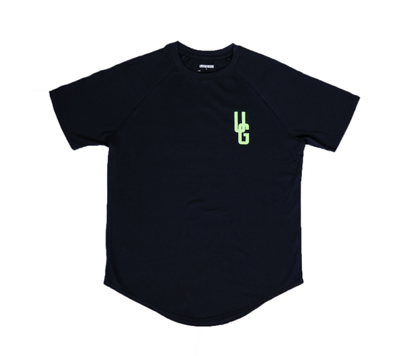 UNDRGROUND Green Logo Curved Tee (Black)