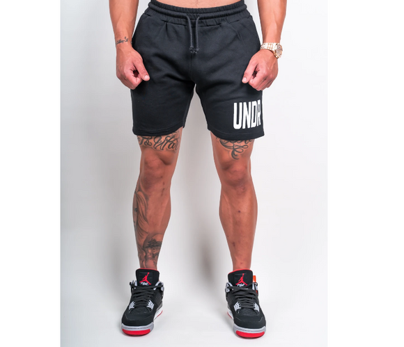 UNDRGROUND Block White Print Cotton Shorts (Black)
