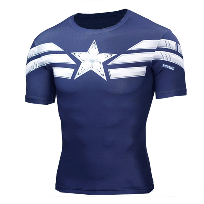 High Quality 3D T Shirt Men Captain America Print Fitness T-shirt