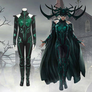Halloween Thor Ragnarok Hela Cosplay Costume Outfit Jumpsuit Cloak Boots Shoes