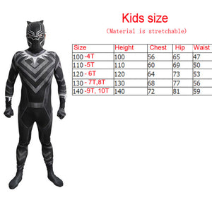 Marwel Black Panther Cosplay Costume With Mask Helmet New 2018