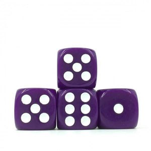 12 x Opaque Purple d6 with White pips