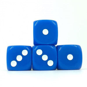 12 x Opaque Blue d6 with White pips