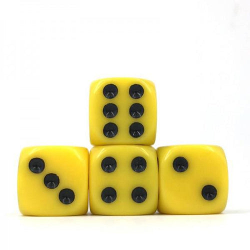 12 x Opaque Yellow d6 with Black pips