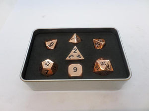 Metal Dice Set With Metal Box - Polished Copper