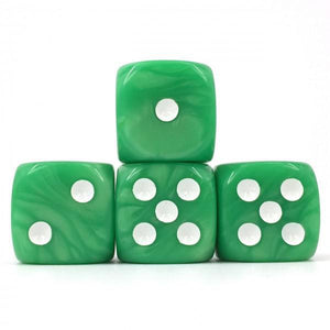 12 x Pearl Green d6 with White pips