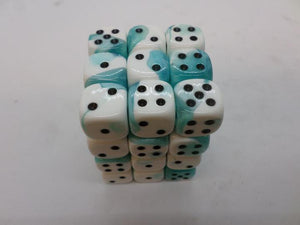 36 x d6 Gemini Teal-White/black