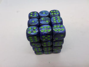 36 x d6 Lustrous Dark Blue/green
