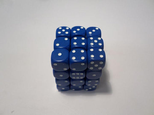 36 x d6 Opaque Blue/white