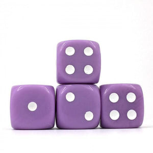 12 x Opaque Lavender d6 with White pips