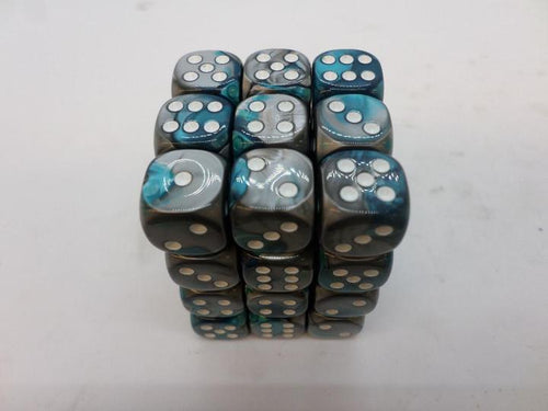 36 x d6 Gemini Steel-Teal/white