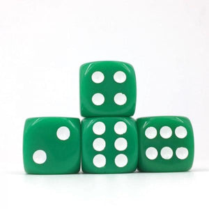 12 x Opaque Green d6 with White pips